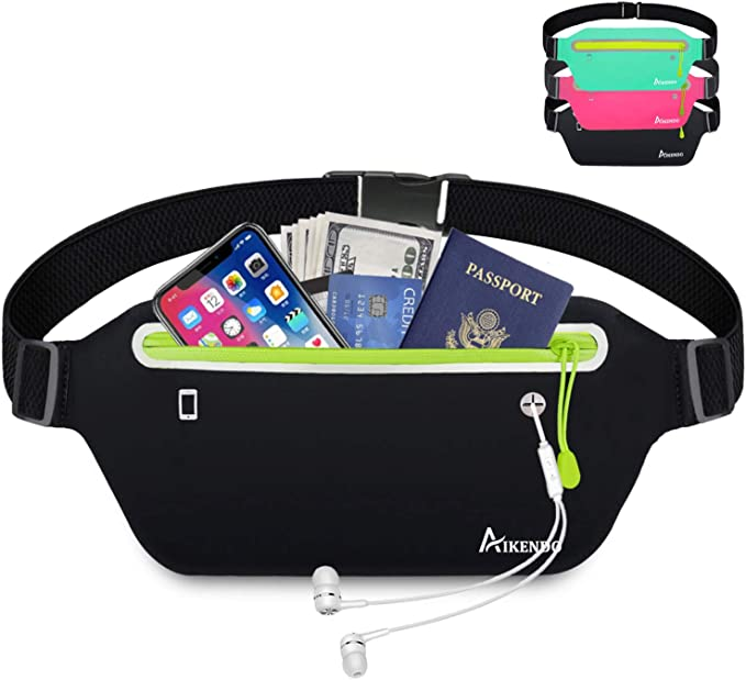 ANMRY Slim Running Belt Sports Waist Pack Water Resistant Runners Belt Fanny Pack,Adjustable Running Pouch Zipper Pockets for iPhone 11 Pro Max 10 8 X 7 6 in Running Gym Marathon Cycling