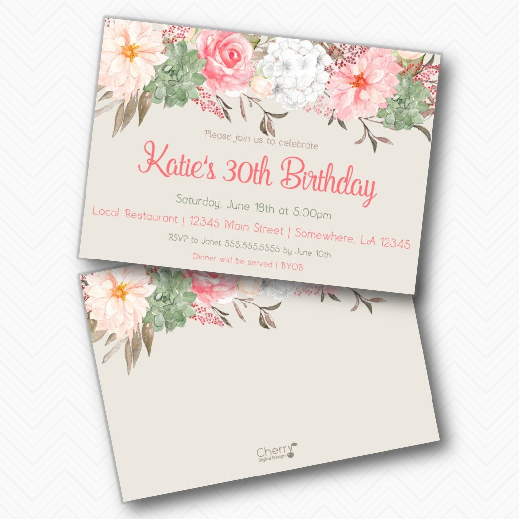 Amazon Beautiful Printed Floral 30th Birthday Party Invitations