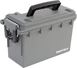 Sheffield 12628 Field Box   Great Pistol, Rifle, or Shotgun Ammo Storage Box or Tackle Box   Safe & Tamper-Proof with 3 Locking Options   Stackable and Water Resistant   Gray   Made in The U.S.A.