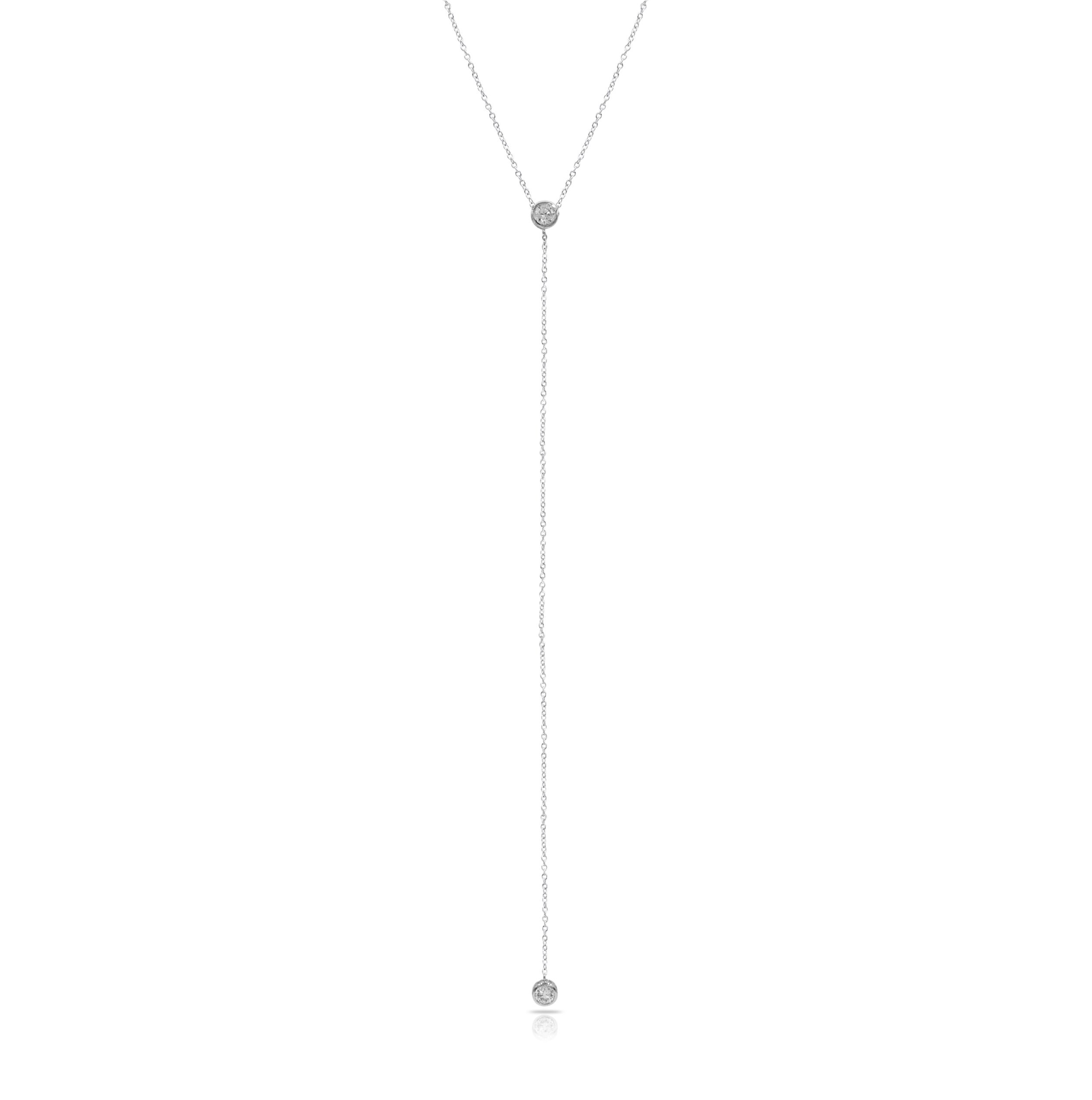 Sterling Silver Y Droplet Lariat Long Chain Necklace with Round Solitaire Bezel CZ Crystal Charm, Rhodium Plated 925 Silver, Adjustable Chain Length 16'' - 18'', with Jewelry Box by Fifth Ave Fair