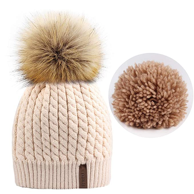 FURTALK Women Winter Knitted Pom Beanie-Fur Hat Big Raccoon Pom Pom Hat  Women Crochet c489073c969