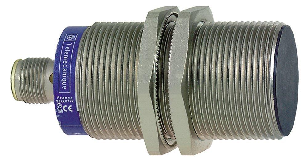 Telemecanique XS530B1NAM12 Optimum Series Inductive Proximity Sensor, Heavy-Duty, Metal 30-mm Barrel, 2-Wire AC/DC Wiring, PNP Input, NO Output, M12 Micro-Connector
