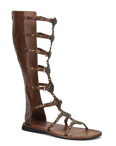 e52b11d0f52b5 Knee Boot Roman Greek Toga Costume Sandal MENS SIZING Brown Size  Small