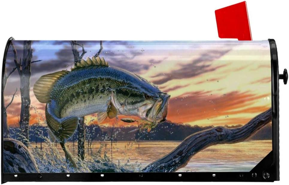 ZENRAEW Bait Fishing Mailbox Cover Magnetic Large Size Mailbox Decorative Post Letter Box Cover Garden Yard Home Decor 21x18 in