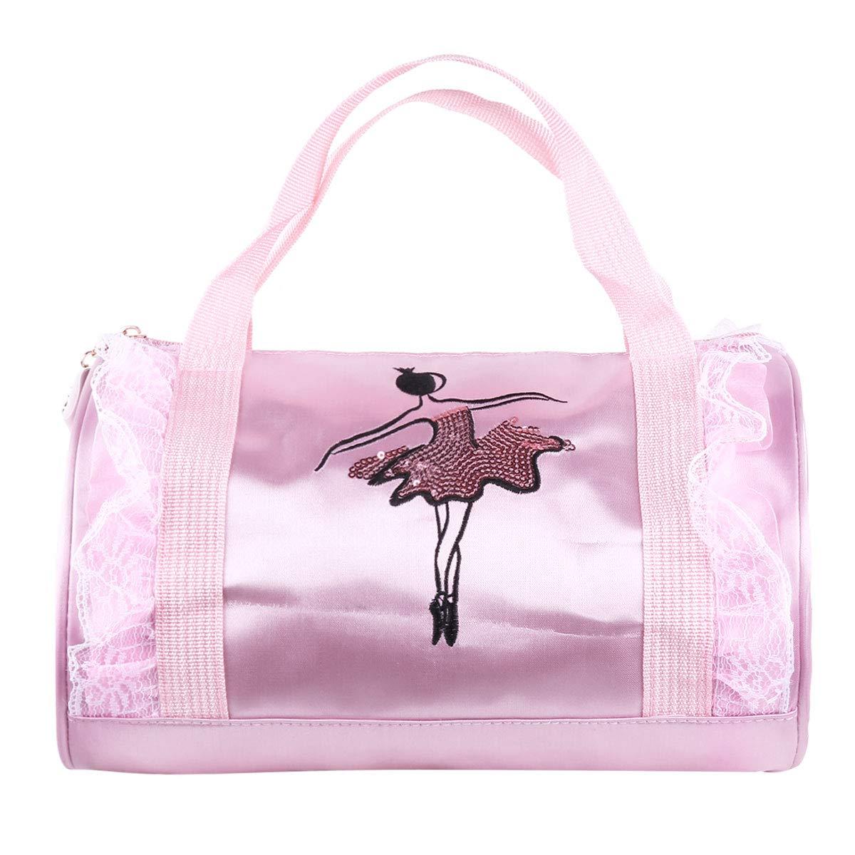 Tiaobug Ballett-Tasche für Mädchen, Sport- und Gymnastik-Tasche, rosa schwarz Tanztasche, Kindertanztasche