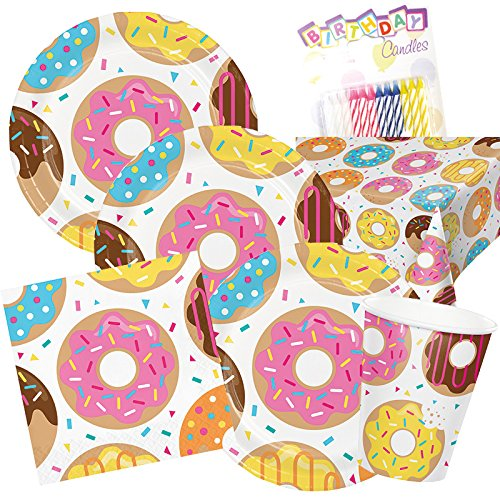 Tableware Theme (Donut Theme Party Supplies Pack (Serves-16) Dinner Plates, Luncheon Napkins, Cups, and Tablecloth - Supply Tableware Set Kit Includes Birthday Candles)