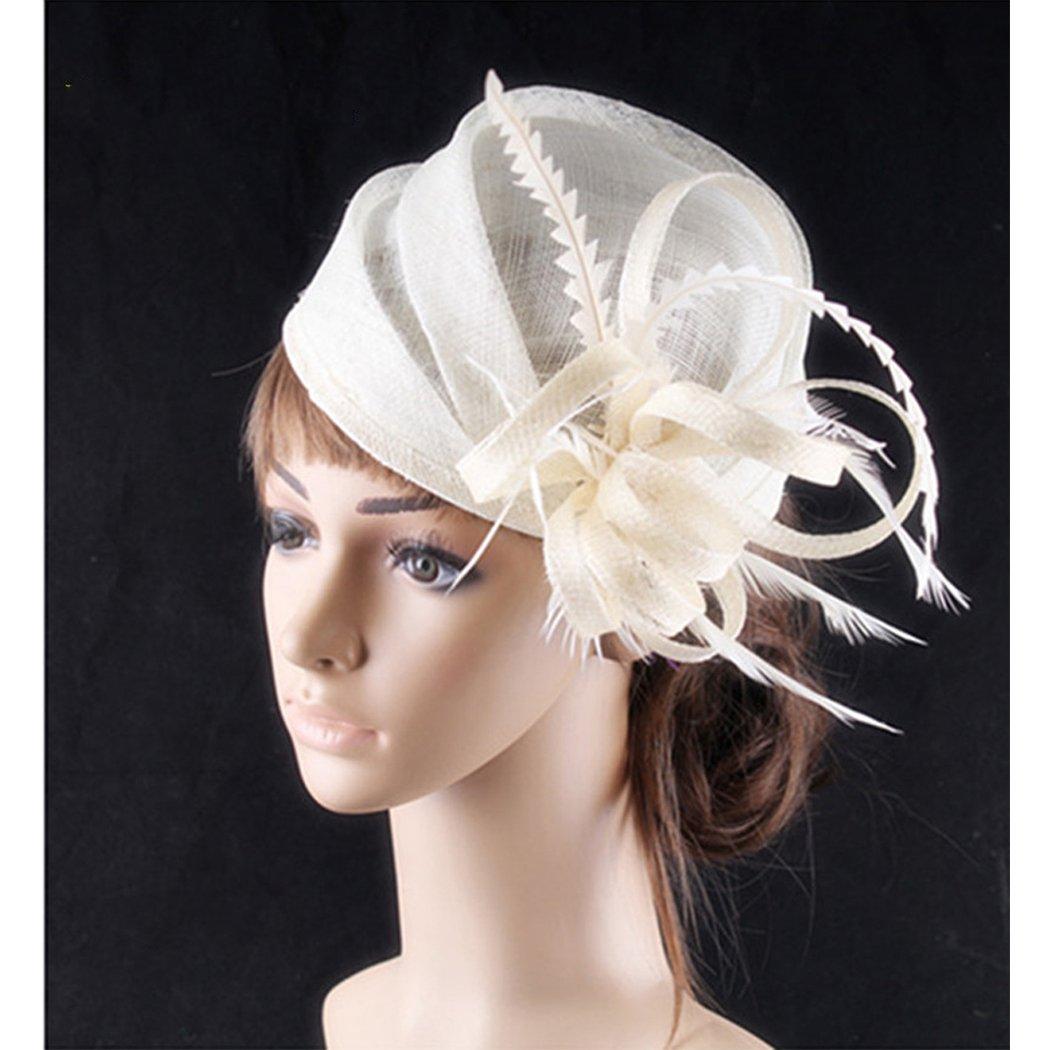 Krastal Womens Fascinator Kentucky Derby Hair Accessories Elegant Bridal Wedding Fedora