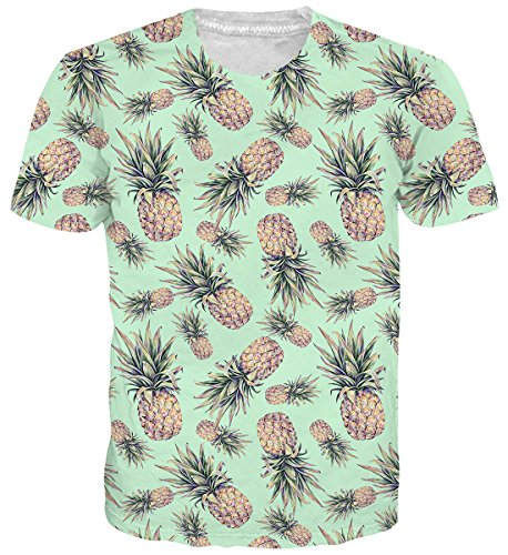 Unisex Short Sleeve Crew Shirt - Belovecol Fruit Pineapple Graphic T Shirts for Unisex Cool 3D Print Short Sleeve Crewneck Popular Tee Shirts Tops XL