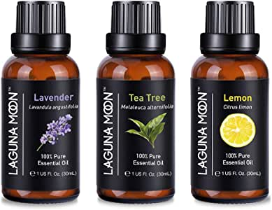 Lagunamoon Aromatherapy Oils, Essential Oils Set for Diffuser, Humidifier, Massage, Aromatherapy, Sin & Hair Care Set of 3 / 30mL