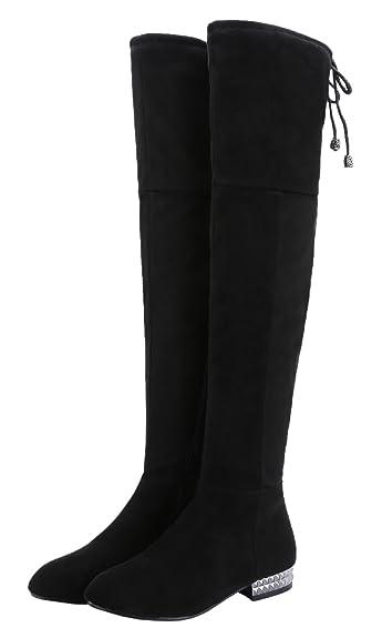 3b409e19b6d50 Royou Yiuoer Women's Thigh High Boots Flat Side Zipper Over The Knee Boots