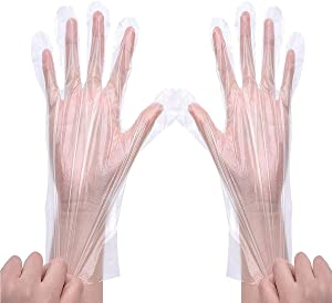 Zehhe 200 pcs Disposable Plastic Gloves, Multipurpose Cleaning Plastic Hand Gloves for Kitchen Cooking Cleaning Safety Food Handling Large
