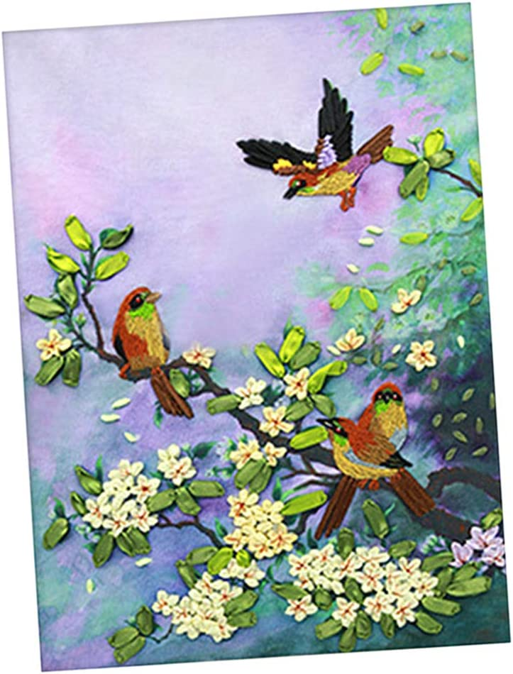 Baosity Handmade Ribbon Embroidery Kits DIY Bird Bouquet Painting Wall Decoration Stamp Embroidery kit No Frame