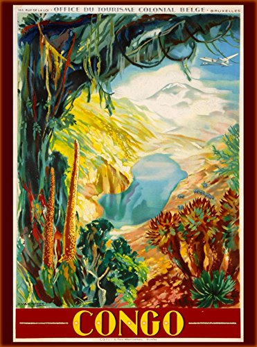 A SLICE IN TIME The Congo Central Africa Jungle Vintage African Travel Advertisement Art Collectible Wall Decor Poster. Poster measures 10 x 13.5 inches.