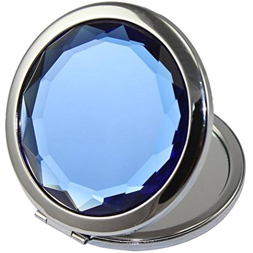 ADAMAI Crystal Folding Makeup Mirror Handhold Metal Round Hand Compact Pocket Cosmetic Magnified Mini Mirror Blue