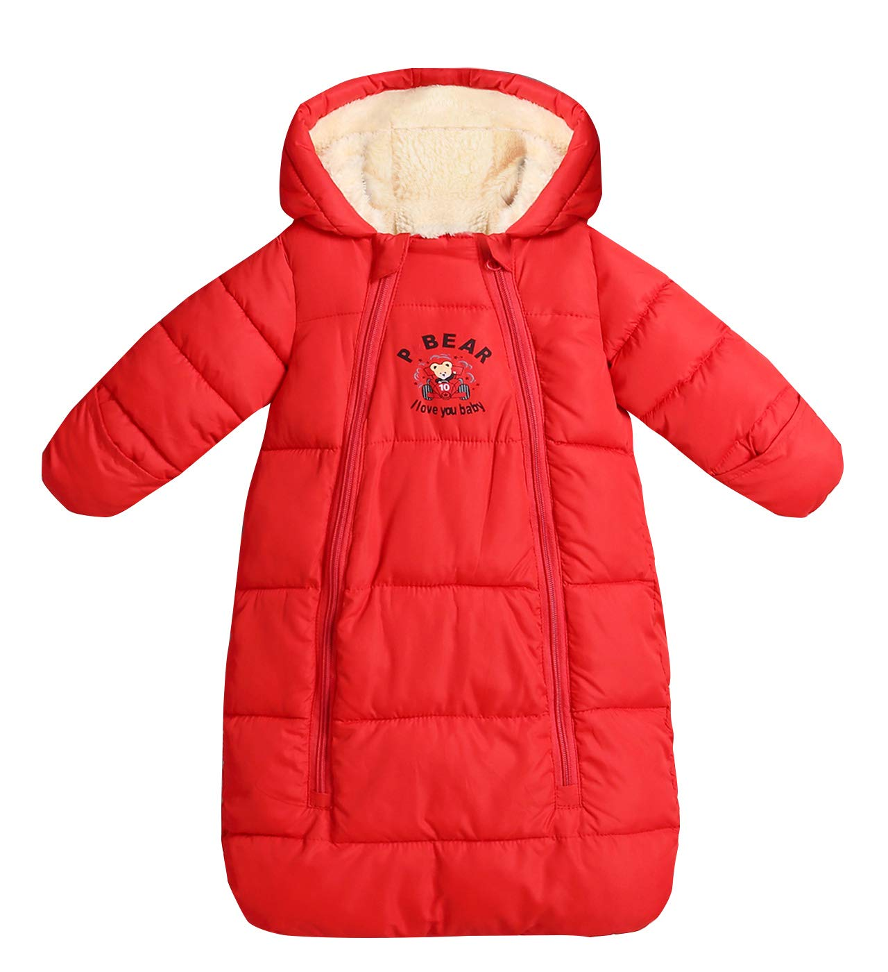Baby Wearable Blanket Long Sleeve Snowsuit Hooded Fleece Sleeping Bag Thicken Loose Fit Snowsuit 6-18 Months Red by Aivtalk