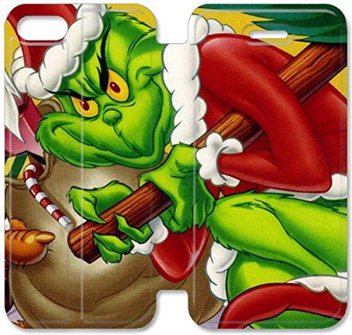 Flip étui en cuir PU Stand pour Coque iPhone 5 5S, bricolage 5 étui de téléphone cellulaire 5S Comment le Grinch a volé Noël de bande dessinée Coque Case B3C2TW plastique bricolage Coque iPhone en cui