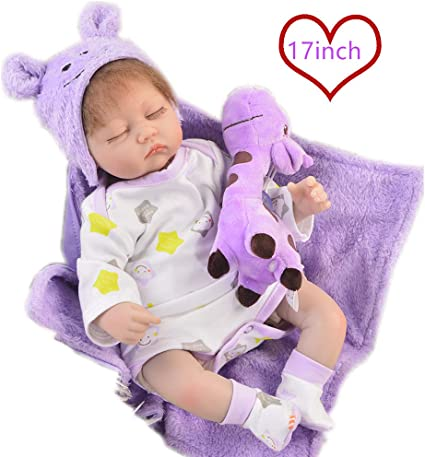 "17/"" FULL BODY SILICONE Newborn Doll Real Lifelike Reborn Baby Dolls Xmas Gift"