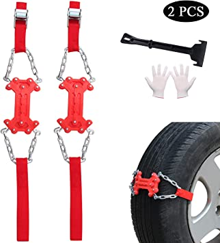 2PCS Anti Skid Tire Chain with Carry Bag Car Snow Tire Blocks Emergency Winter Driving Snow Mud Sand Traction Device Tire Chain Straps for Trucks SUV