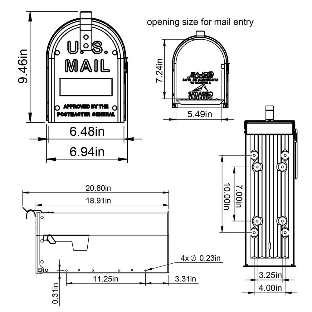 Gibraltar Mailboxes ADM11W01 Admiral Mailbox Textured White