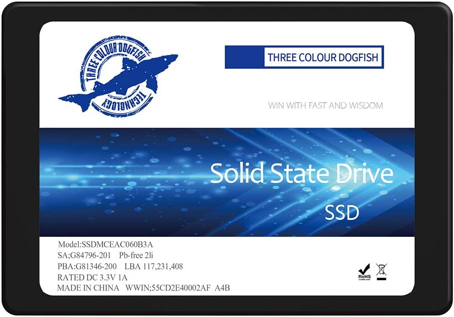 Dogfish SSD 500 جيجا نت الداخلي ساتا III 2.5 انش محرك قرص صلب عالي الدقة للكمبيوتر SATA3 (500 جيجابايت، 2.5 انش SATA3)
