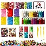 Halloween Slime Supplies Kit, 56 Pack Slime Beads Charms, Includes Fishbowl Beads, Foam Balls, Glitter Jars, Fruit Flower Animal Slices, Pearls, Slime Tools for DIY Slime Making, Homemade Girl Slime