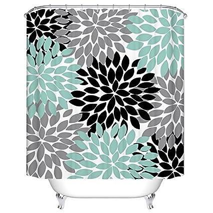 Black Grey Green Dahlia Floral Shower Curtain