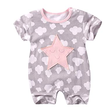 f5d684e13af Amazon.com  ❤ Mealeaf ❤ Newborn Baby Boy Girl Short Sleeve Cotton Jumpsuit  Star Cloud Moon Print Rompers 3-15 Months  Clothing