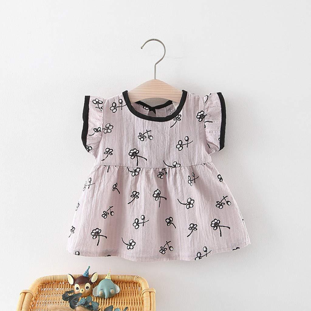 CreazyBee Girls Childrens Flying Sleeves Flower Small Skirt Princess Dress Dress