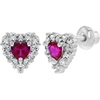 Rhodium Plated Small Hot Pink Clear Heart Baby Girl Screw Back Earrings