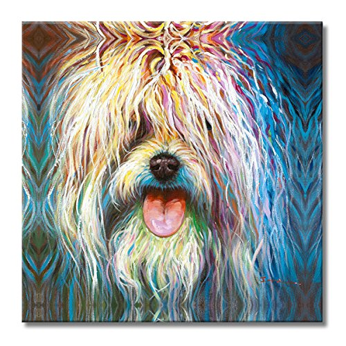 FLY SPRAY 1 Panel Framed 100% Hand Painted Oil Paintings Canvas Wall Art Colorful Bushy Dog Modern Abstract Artwork Painting for Living Room Bedroom Office Home ()