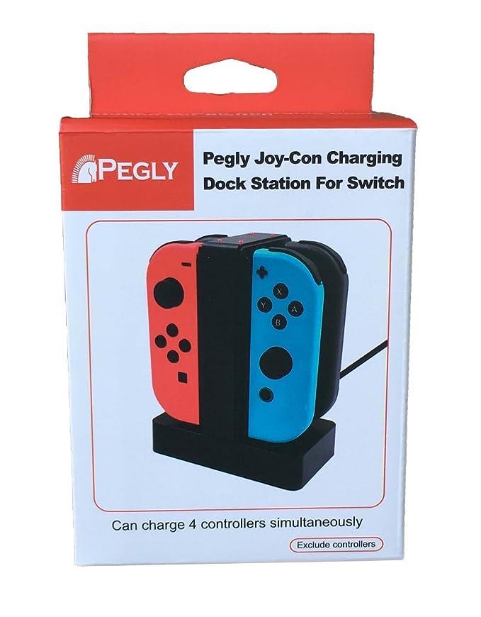 Amazon.com: pegly Joy-con Cargador con indicador LED 4 en 1 ...