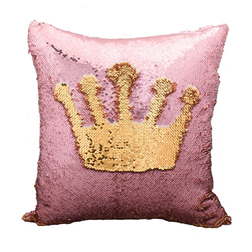 Idea Up Reversible Sequins Mermaid Pillow Cases 4040cm with magic mermaid sequin (Pale pink and Gold) (Kids Room Ideas)