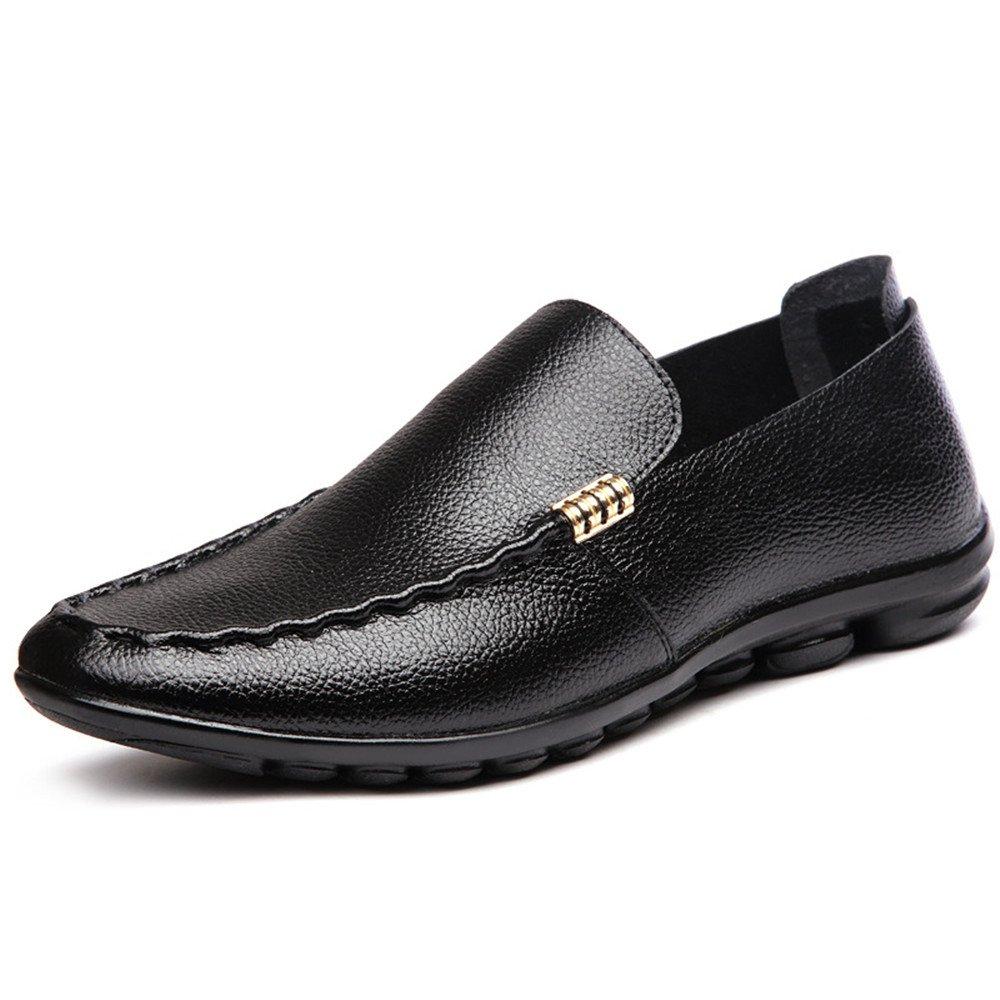 Zapatos de Cuero Ocasionales de los Hombres de Verano Zapatos de conducción Respirables 38 2/3 EU|Negro