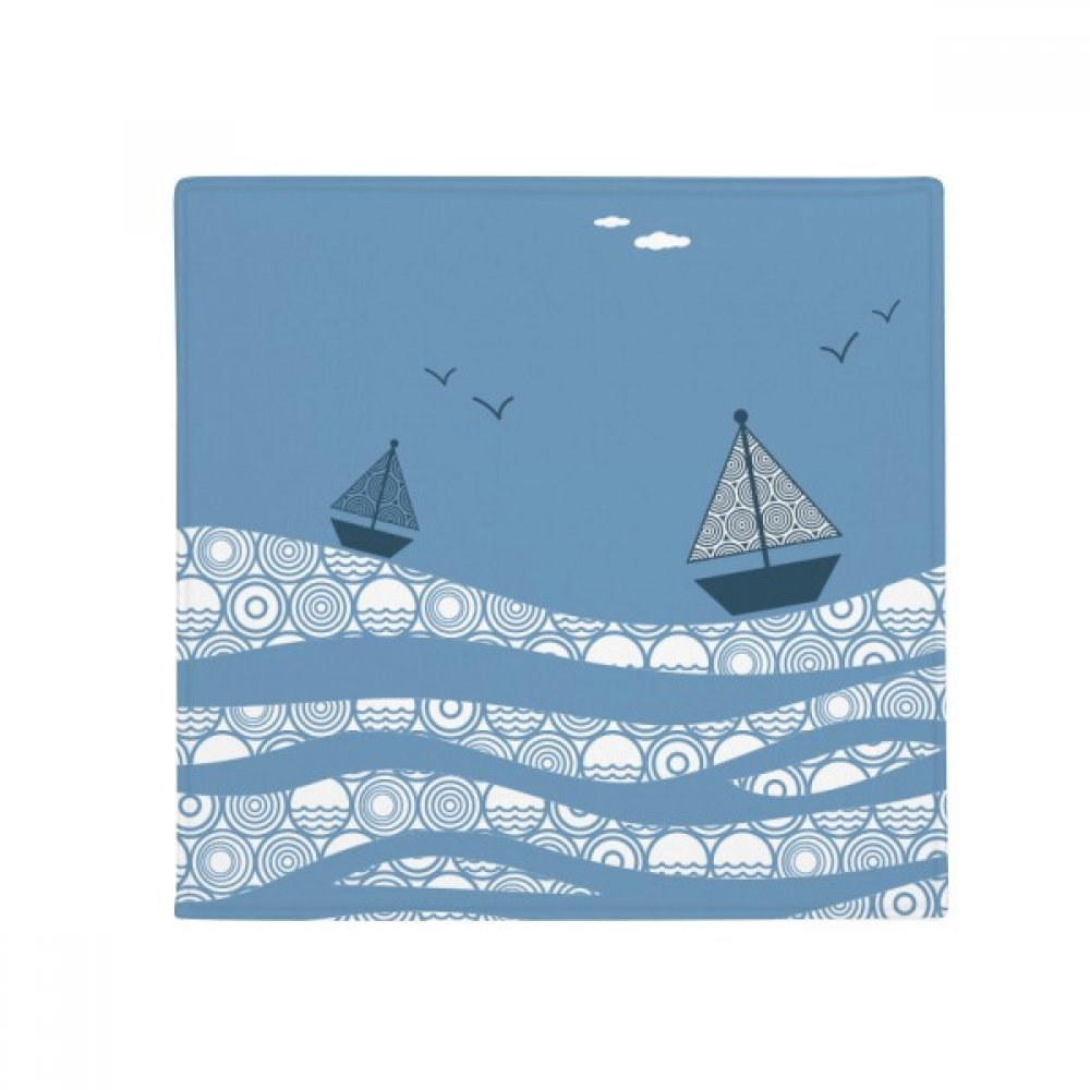DIYthinker Sea Wave Boat Landscape Cloud Illustration Anti-Slip Floor Pet Mat Square Home Kitchen Door 80Cm Gift