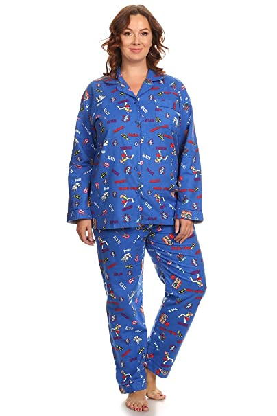 biggest selection elegant shape good quality PB COUTURE Womens Plus Size Flannel Pajamas 2-Piece Pj Set