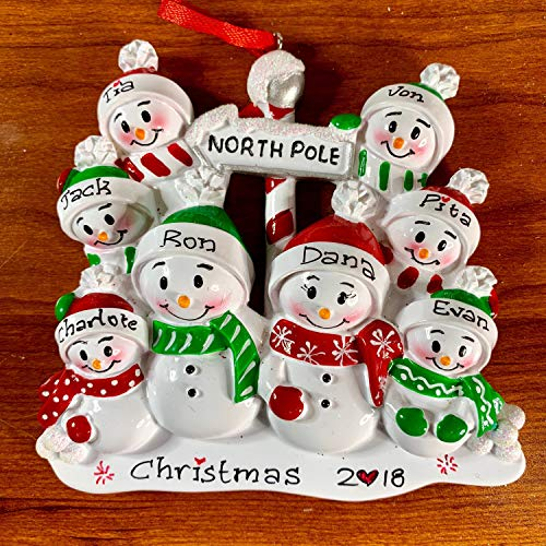 (8 Family North Pole Ornament, Personalized Christmas Ornament, Personalized Family Ornament, 2018 Christmas Ornament, Eight Snowman Ornament)