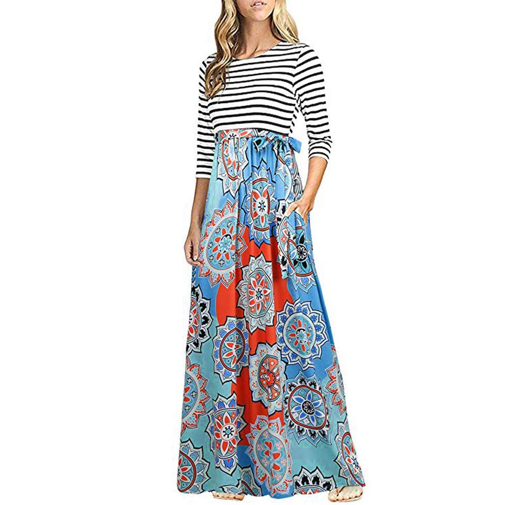 JESPER Women Striped Print Patchwork Long Sleeve Pocket High Waist Boho Long Maxi Dress US 0/2 Blue