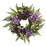 Nearly Natural 24'' Hydrangea Berry Wreath, Purple