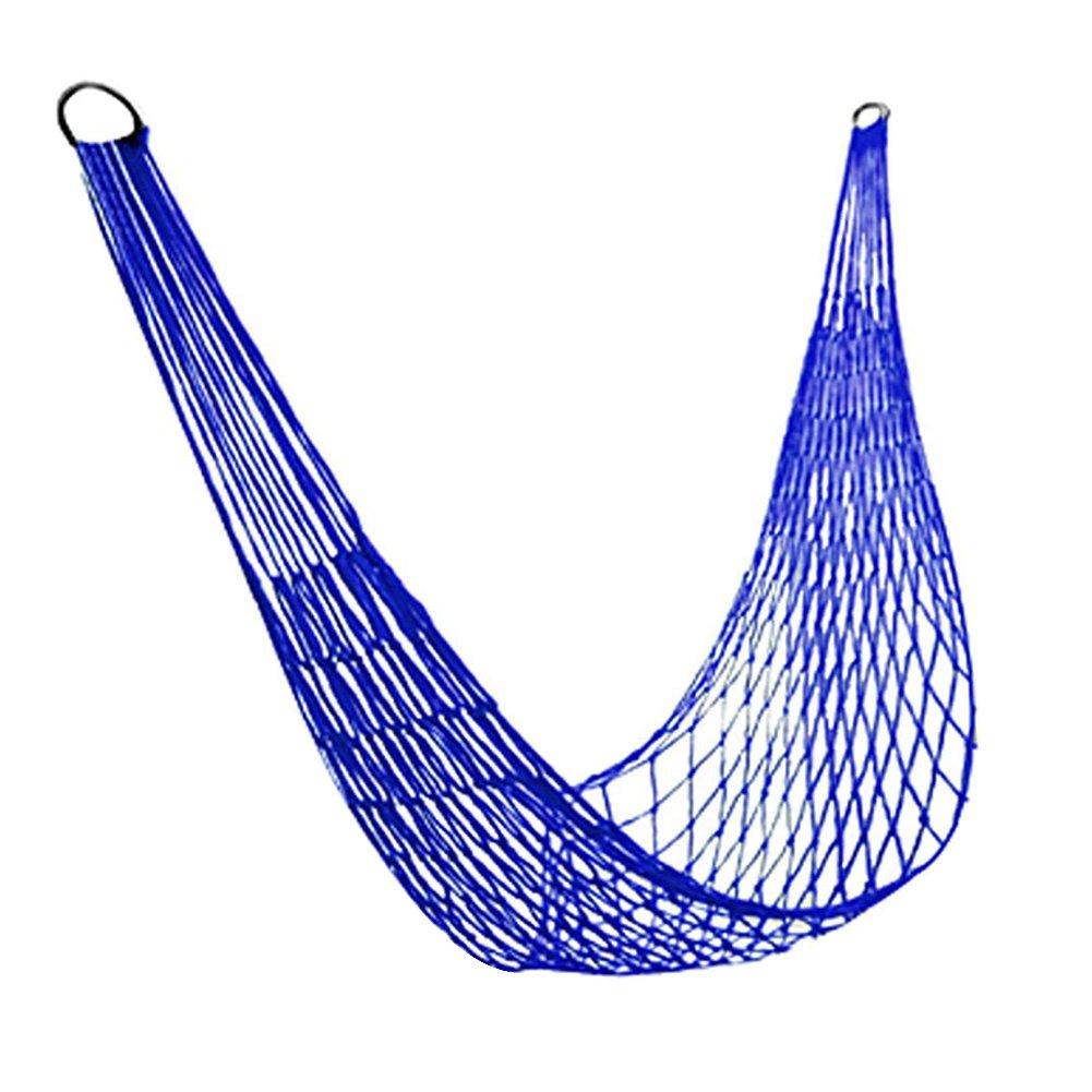 diffstyleキャンプハンモックナイロンメッシュロープHanging Sleeping Netベッドのハイキング旅行アウトドアスポーツ B073ZD9ZDN  ブルー