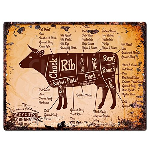 Beef Meat Cuts Chart Guide Rustic Vintage Kitchen Wall Decor 9