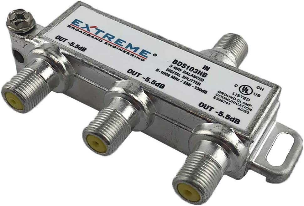 Extreme Broadband Manufacturing BDA103HB 3 Way Balanced HD Digital 1GHz High Performance Coax Cable Splitter