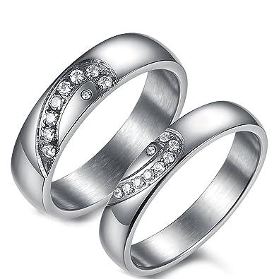 Flongo 2 Anillos Pareja, Hombres Mujer, Corazón Brillante, Anillos Compromiso/Matrimonio, Acero Inoxidable Circoneta, Regalo para Día de los Enamorados: ...