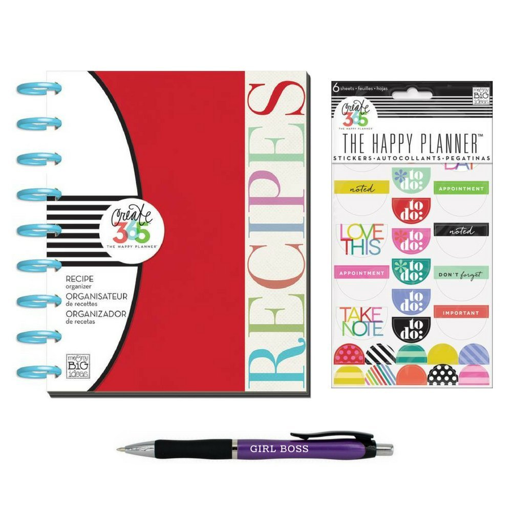Recipe Book Binder Planner by Create 365 Me & My Big Ideas w/ Stickers and Girl Boss Pen by MAMBI