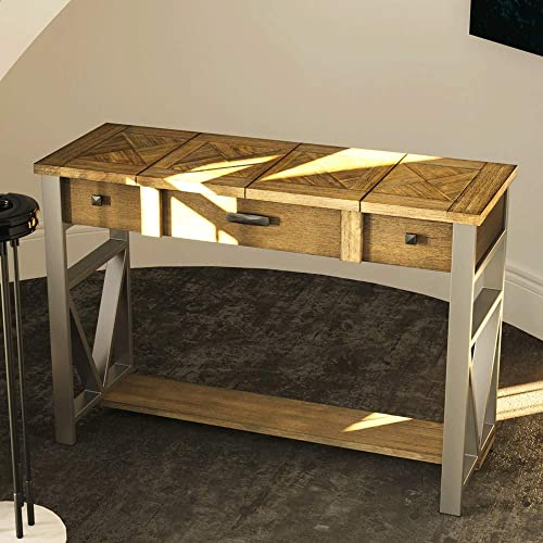 AGEWEED Console Table for Entryway Solid Wood, Sofa Table with Drawers and Storage Shelf, Hallway Entry Tables for Living Room, Rustic Home Decor, Natural Brown