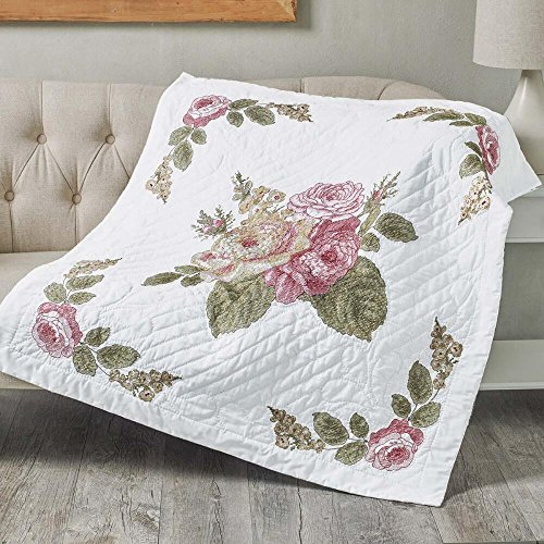 Bucilla Emma's Garden Lap Quilt Top Stamped Cross-Stitch