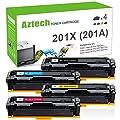Aztech 4Pk Compatible Toner Cartridge Replacement for HP 201X CF400X 201A CF400A CF401X CF402X CF403X Toner for HP Color Laserjet Pro MFP M277dw M252dw M277C6 M277N M252dw M252N M252 Laser Printer Ink