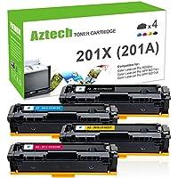 Aztech 4PK Compatible for HP 201A 201X M277DW M252DW Toner Cartridge for HP Color LaserJet Pro MFP M277DW M277C6 M277N Laserjet Pro M252dw M252N Ink Laser Printer (CF400X CF401X CF402X CF403X)