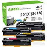 #8: Aztech Compatible HP 201A 201X M277DW M252DW Toner Cartridge For HP MFP M277dw Toner HP Color LaserJet Pro MFP M277dw M277c6 HP Laserjet Color Pro M252dw Toner (4PK-201A CF400A CF401A CF402A CF403A)