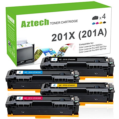 Aztech Compatible Toner Cartridge Replacement for HP 201X 201A CF400X CF401X CF402X CF403X (Black/Cyan/Yellow/Magenta, 4-Packs)