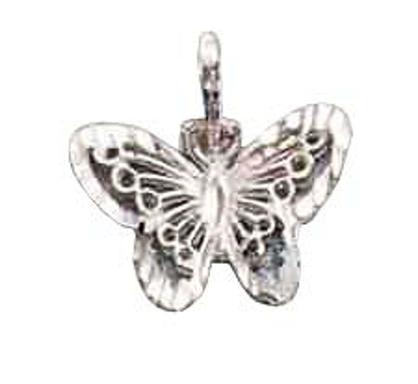 Sterling Silver Womens 1mm Box Chain Small Filigree Butterfly Pendant Necklace